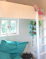 kids loft bed white wood bespoke