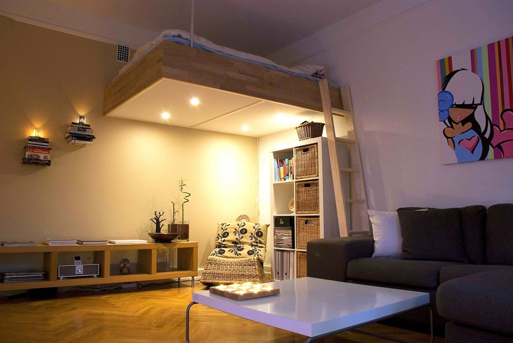 Adult loft beds space saving solutions with storage ideas for Space saver living room designs