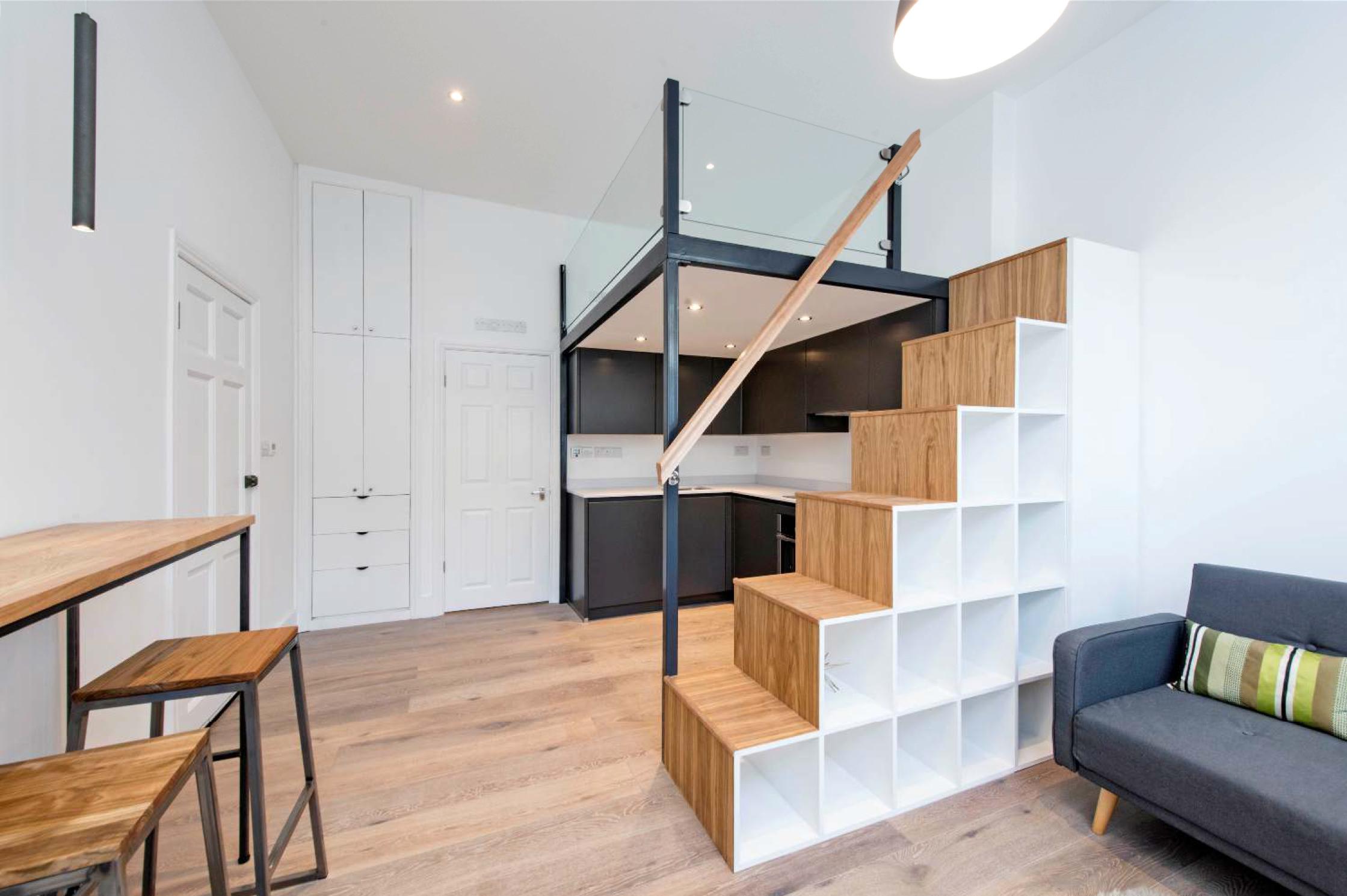 mezzanine-loft- stairs-storage-studio-flat-scandinavian-loft-clapham-london-55