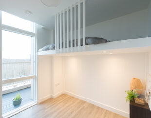 Contemporary wall-to-wall bespoke mezzanine loft with ladder