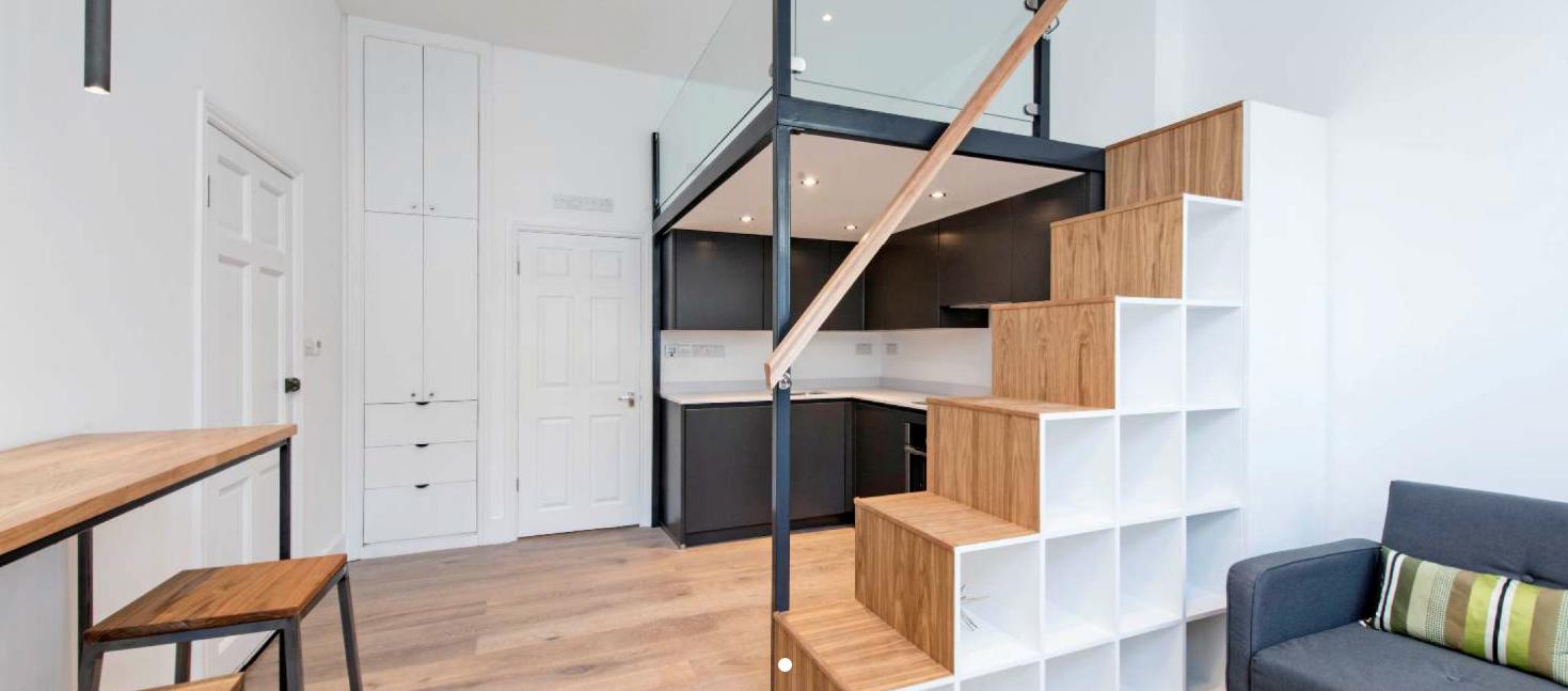 Mezzanine Floor build, stairs and storage, Studio flat, Clapham, London